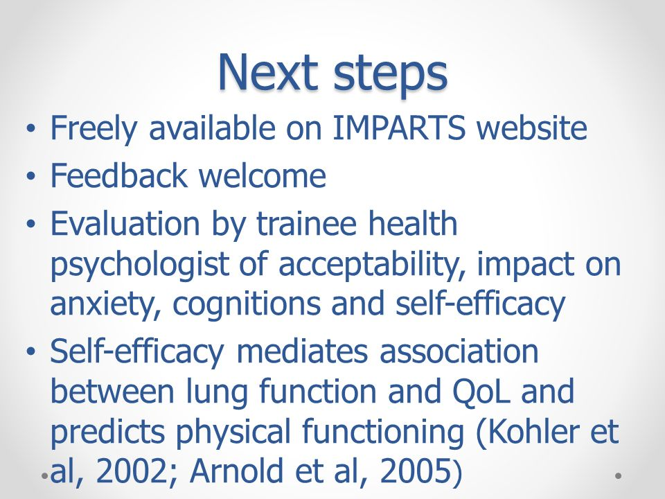 Next steps Freely available on IMPARTS website Feedback welcome