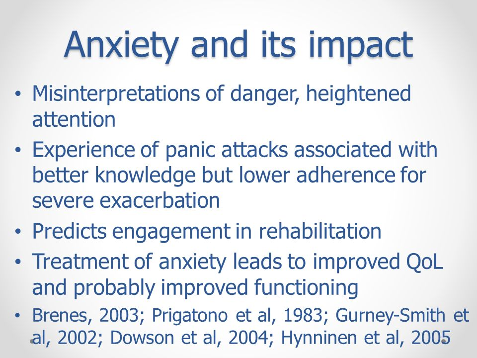 Anxiety and its impact Misinterpretations of danger, heightened attention.