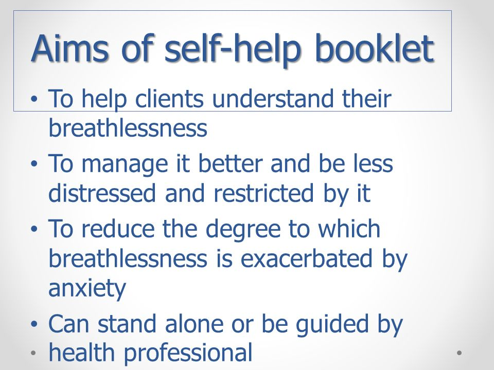 Aims of self-help booklet