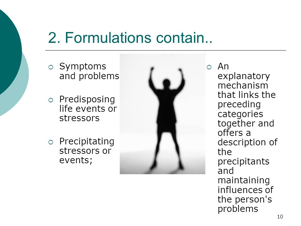 2. Formulations contain.. Symptoms and problems