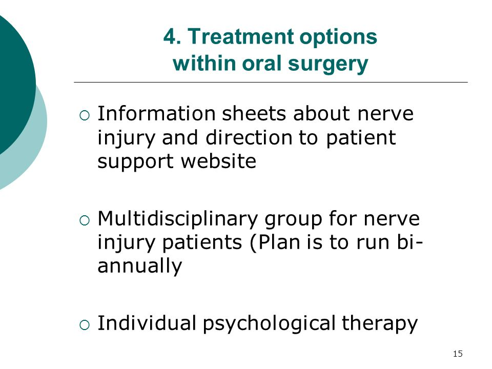 4. Treatment options within oral surgery