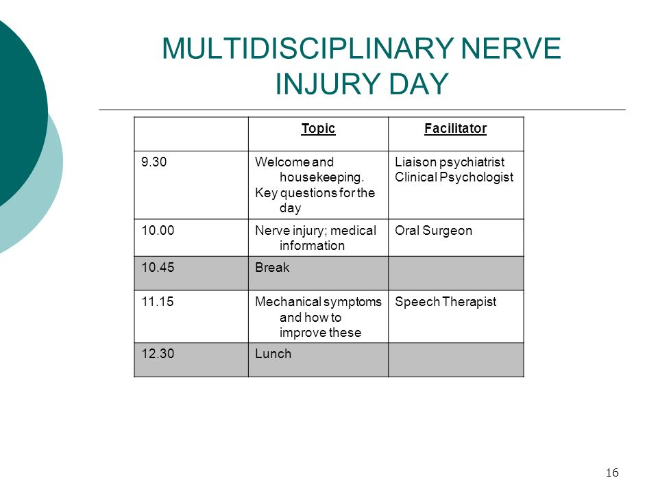 MULTIDISCIPLINARY NERVE INJURY DAY