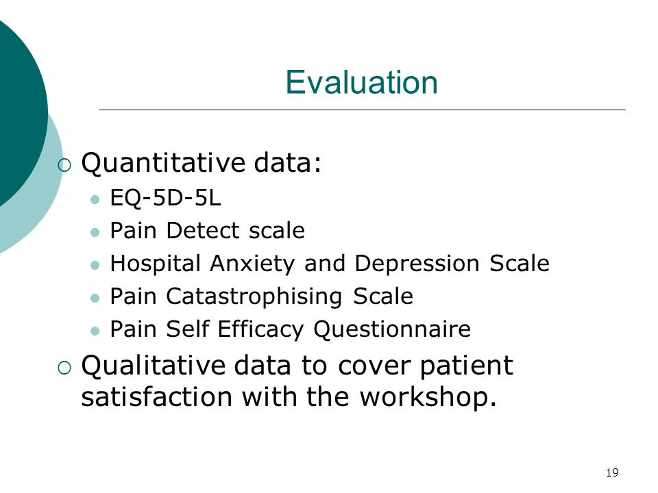 Evaluation Quantitative data: