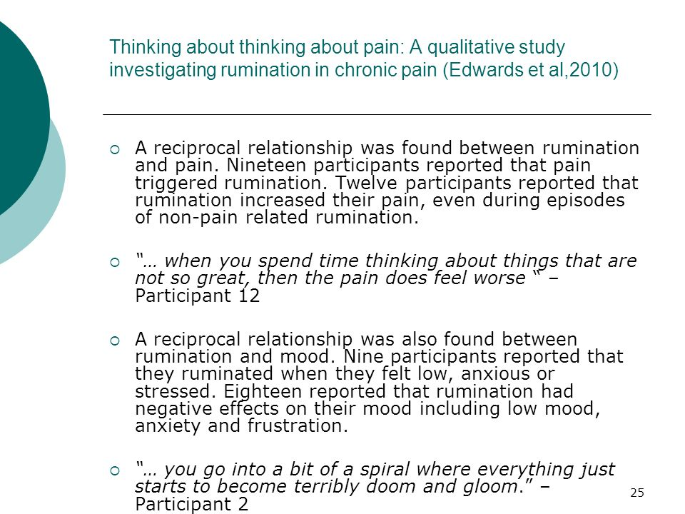 Thinking about thinking about pain: A qualitative study investigating rumination in chronic pain (Edwards et al,2010)