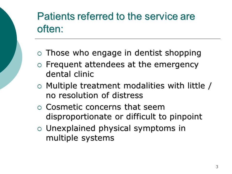 Patients referred to the service are often: