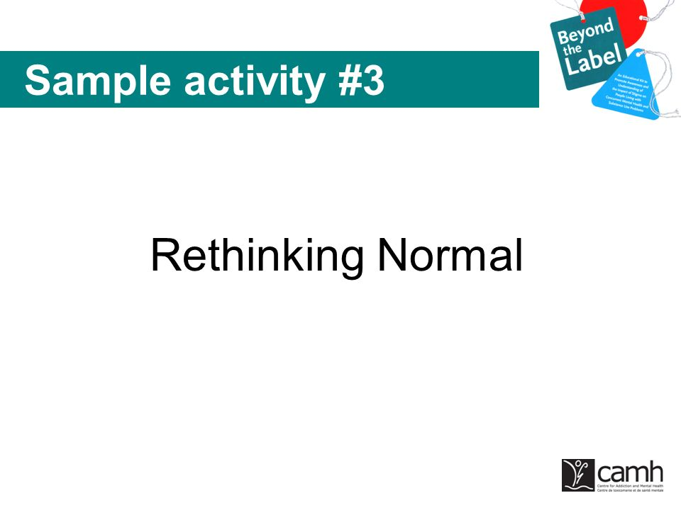 Sample activity #3 Rethinking Normal