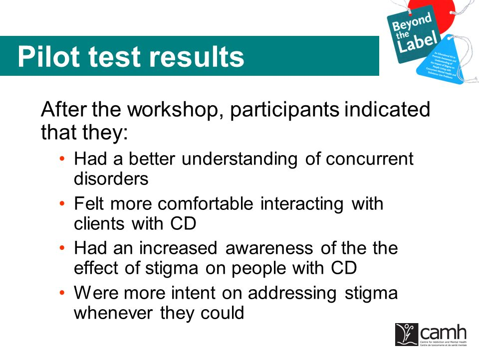 Pilot test results After the workshop, participants indicated that they: Had a better understanding of concurrent disorders.