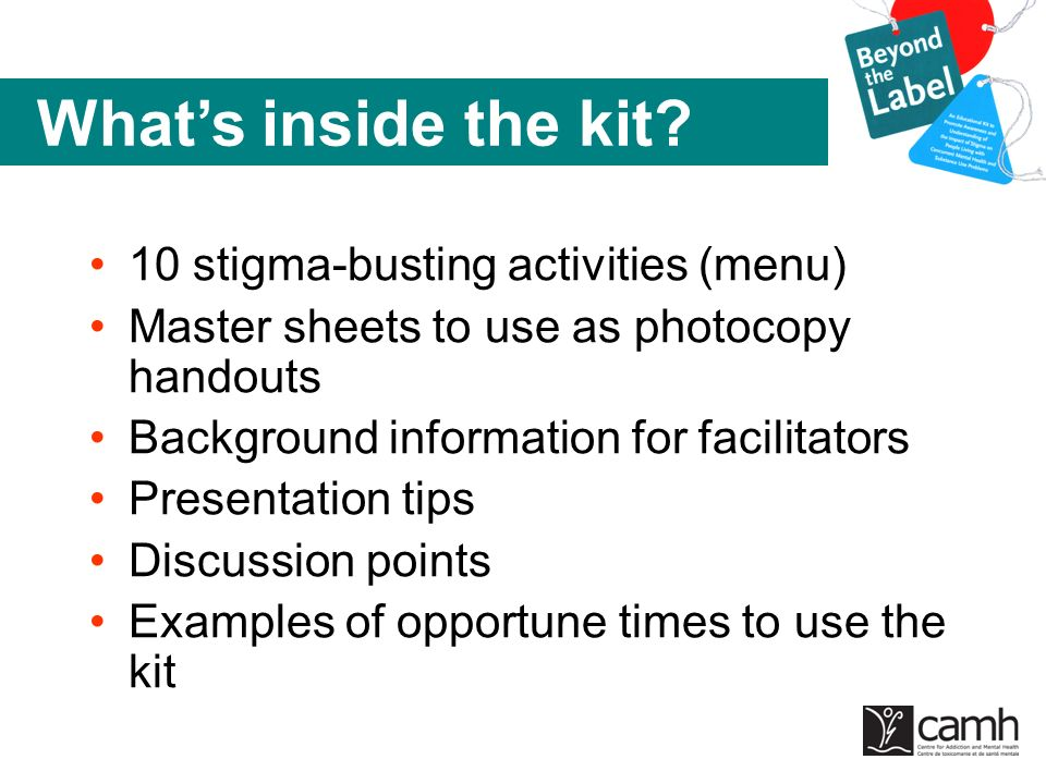 What's inside the kit 10 stigma-busting activities (menu)