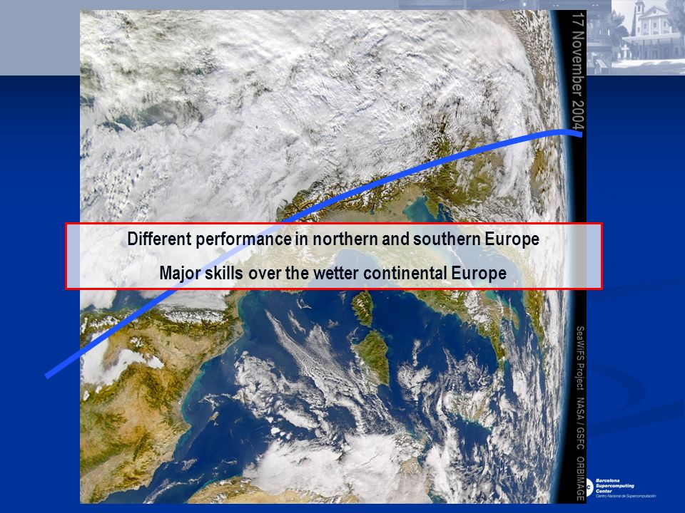 Different performance in northern and southern Europe
