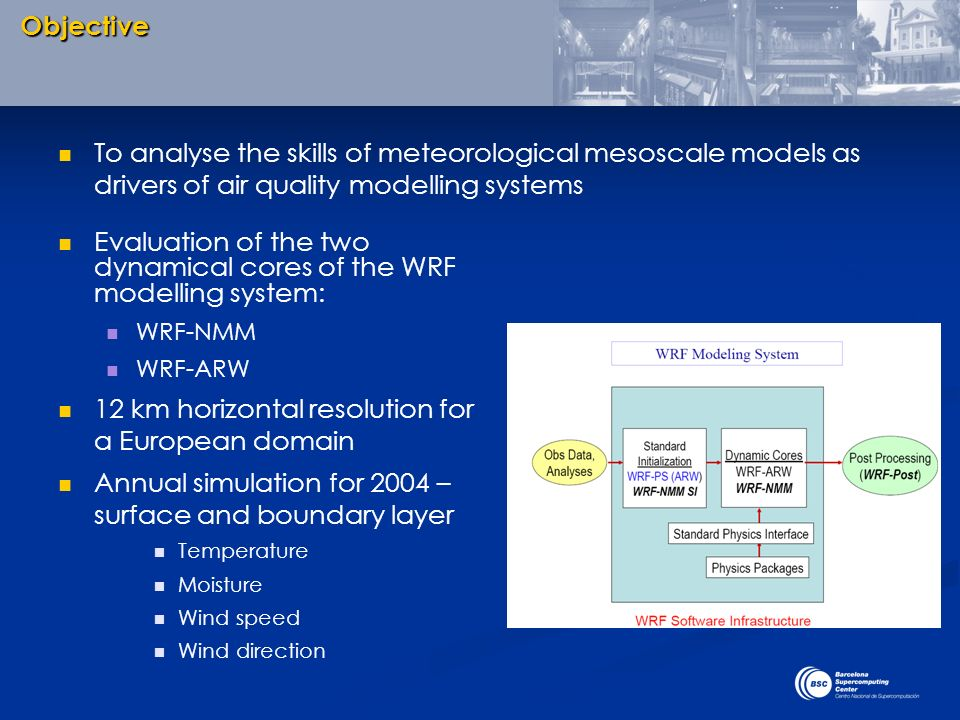 Evaluation of the two dynamical cores of the WRF modelling system: