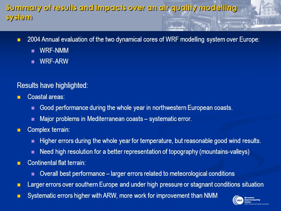 Summary of results and impacts over an air quality modelling system