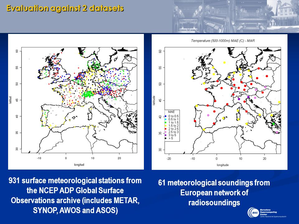 61 meteorological soundings from European network of radiosoundings