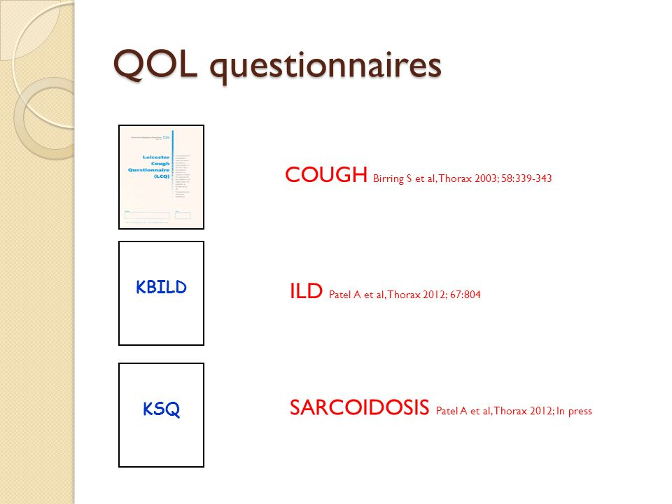 QOL questionnaires COUGH Birring S et al, Thorax 2003; 58:339-343