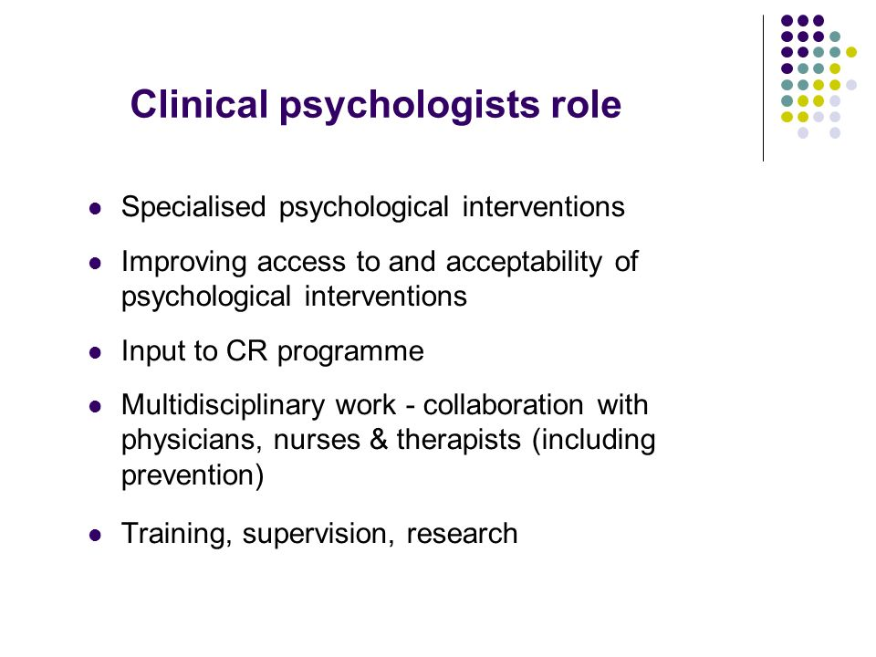Clinical psychologists role
