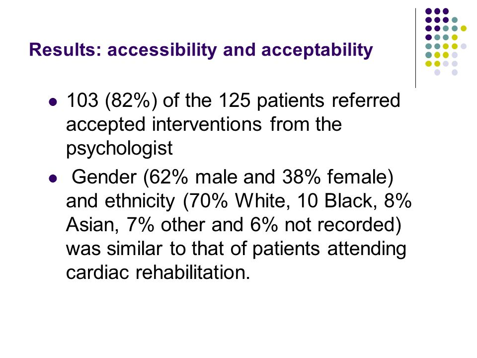 Results: accessibility and acceptability