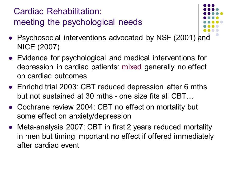 Cardiac Rehabilitation: meeting the psychological needs