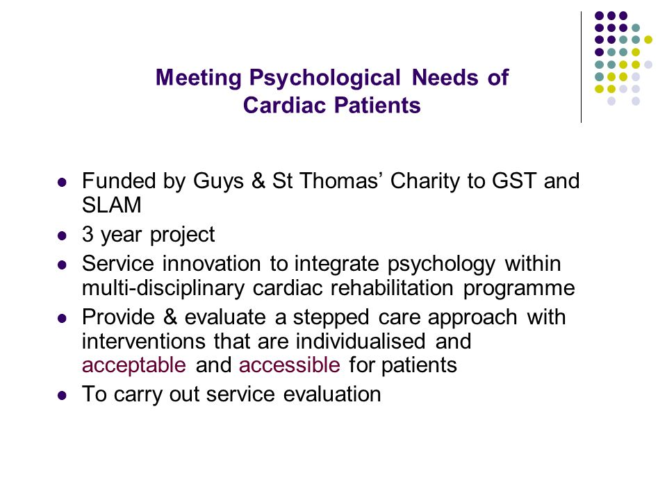 Meeting Psychological Needs of Cardiac Patients