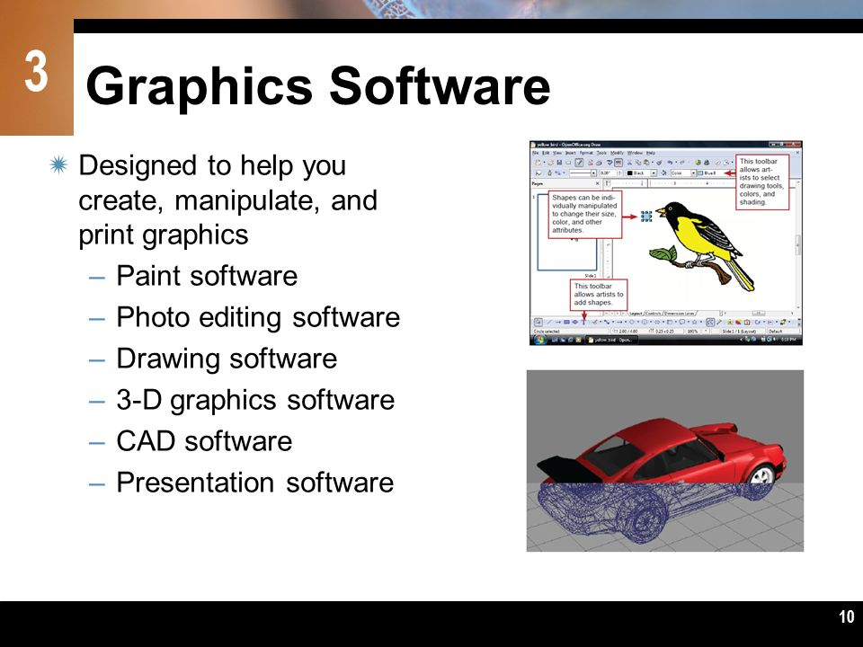 Graphics Software Designed to help you create, manipulate, and print graphics. Paint software. Photo editing software.