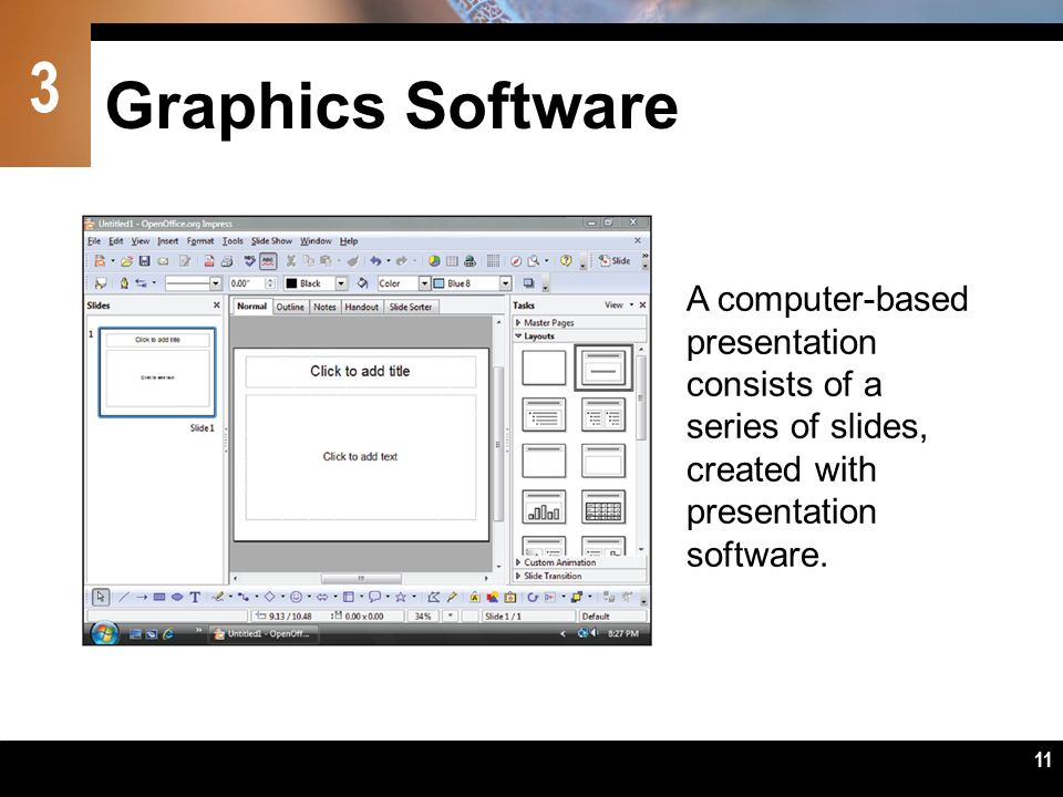 Graphics Software A computer-based presentation consists of a series of slides, created with presentation software.