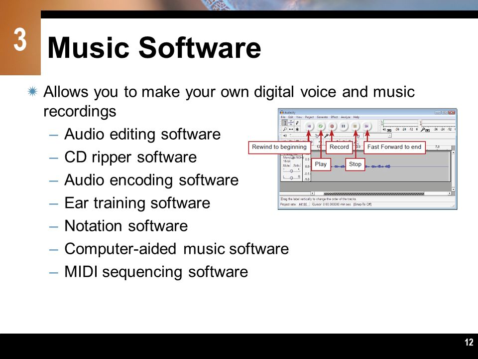 Music Software Allows you to make your own digital voice and music recordings. Audio editing software.