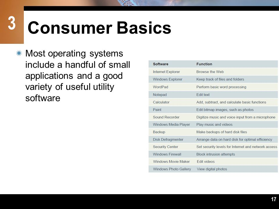 Consumer Basics Most operating systems include a handful of small applications and a good variety of useful utility software.