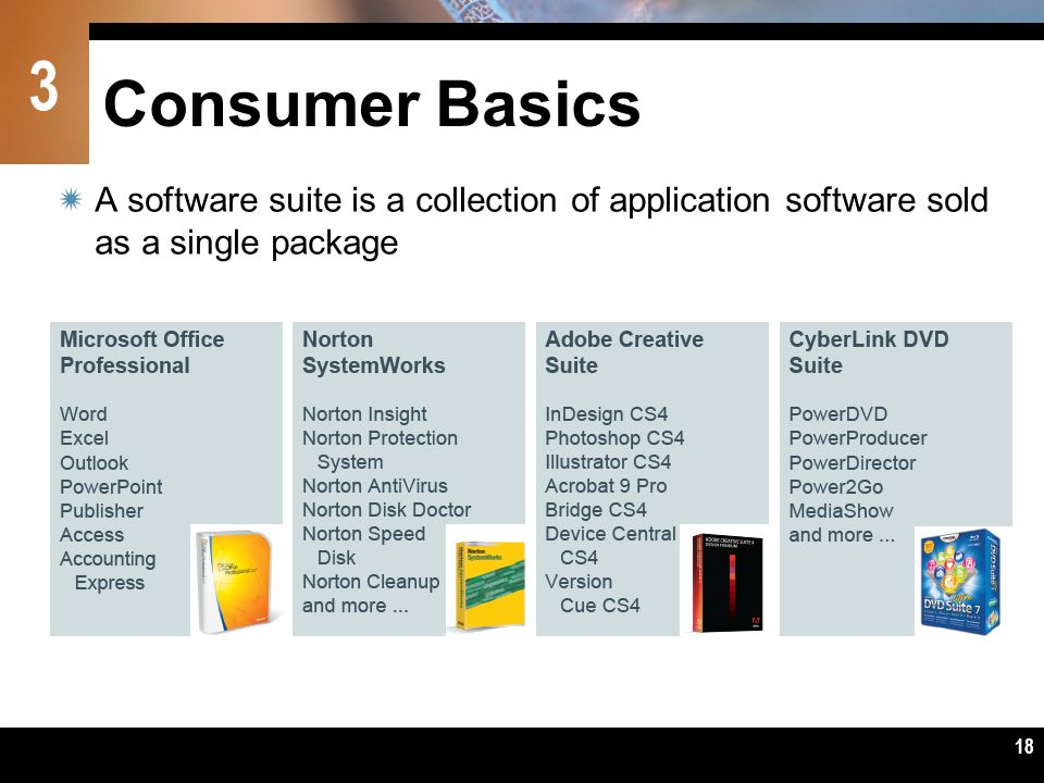 Consumer Basics A software suite is a collection of application software sold as a single package.