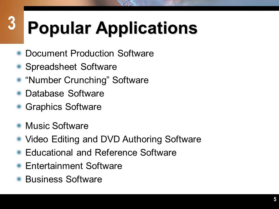 Popular Applications Document Production Software Spreadsheet Software