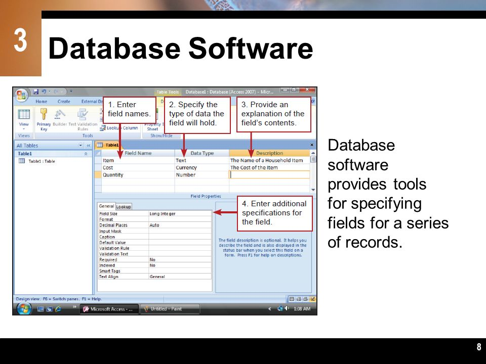 Database Software Database software provides tools for specifying fields for a series of records.
