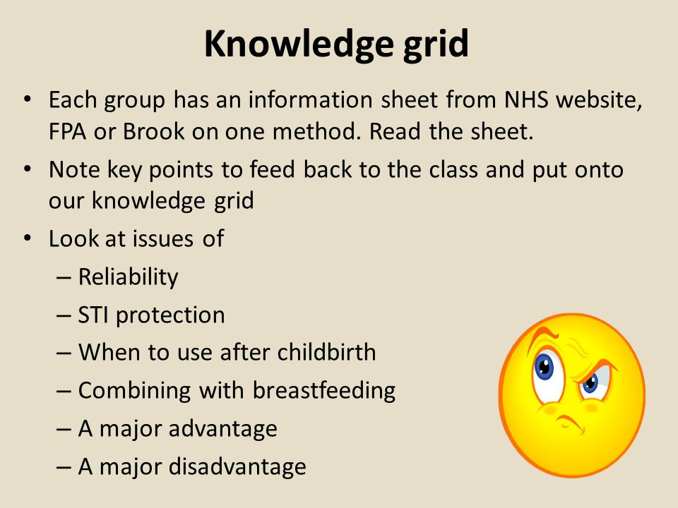 Knowledge gridEach group has an information sheet from NHS website, FPA or Brook on one method. Read the sheet.