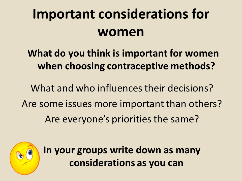 Important considerations for women