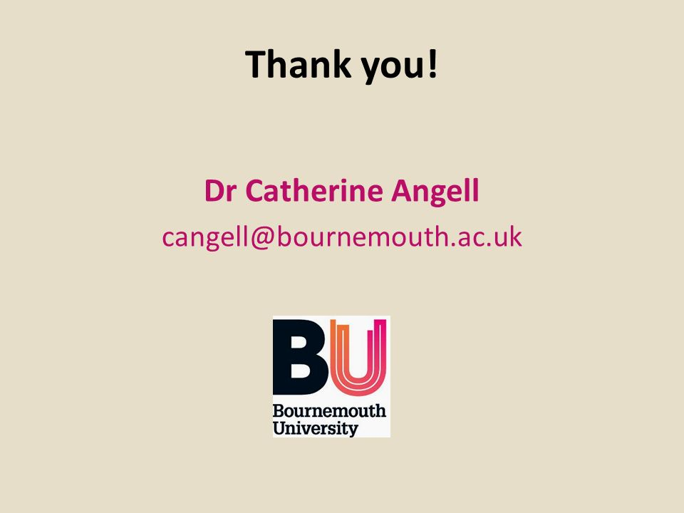 Thank you! Dr Catherine Angell cangell@bournemouth.ac.uk