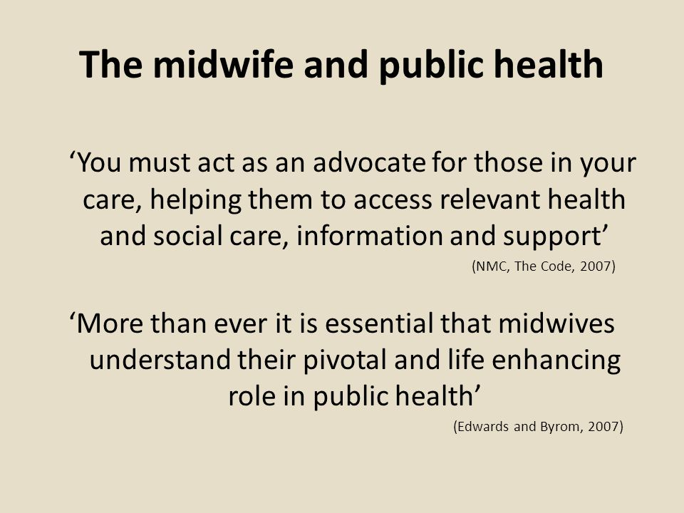 The midwife and public health