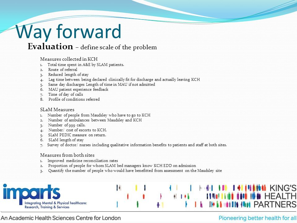 Way forward Evaluation – define scale of the problem