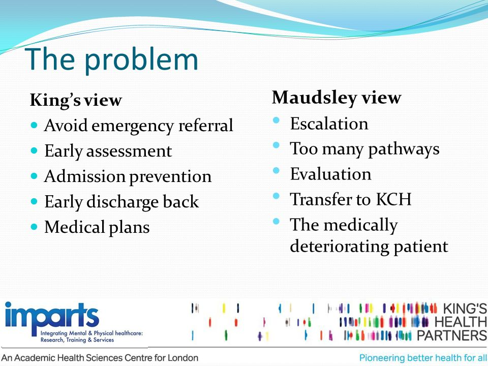 The problem Maudsley view King's view Escalation