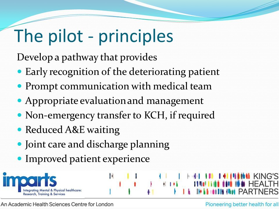 The pilot - principles Develop a pathway that provides