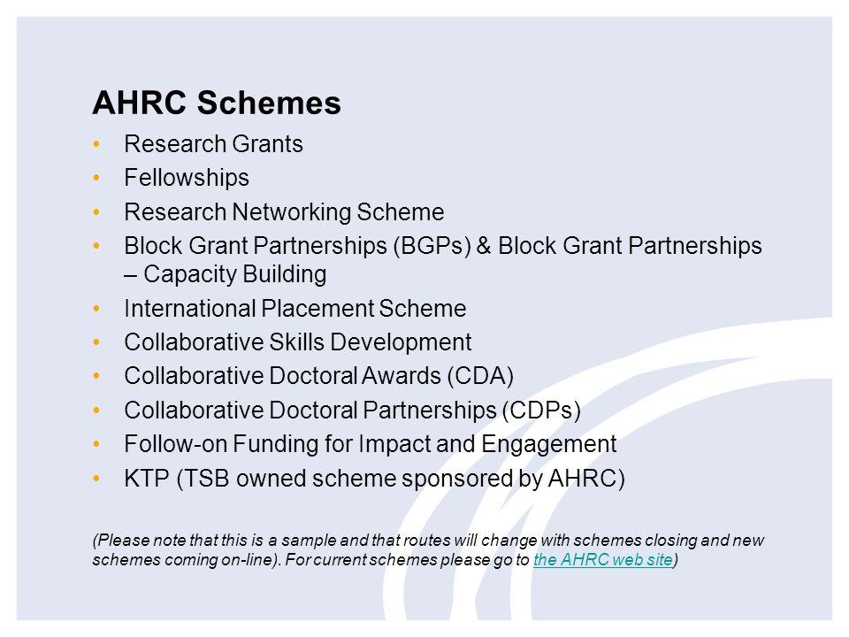AHRC Schemes Research Grants Fellowships Research Networking Scheme