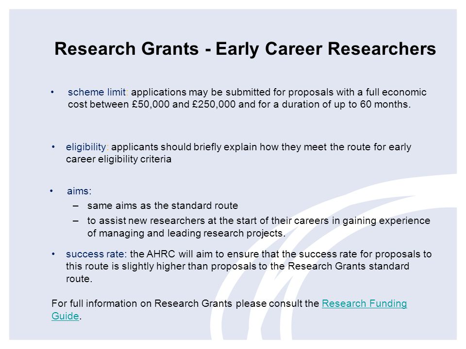 Research Grants - Early Career Researchers