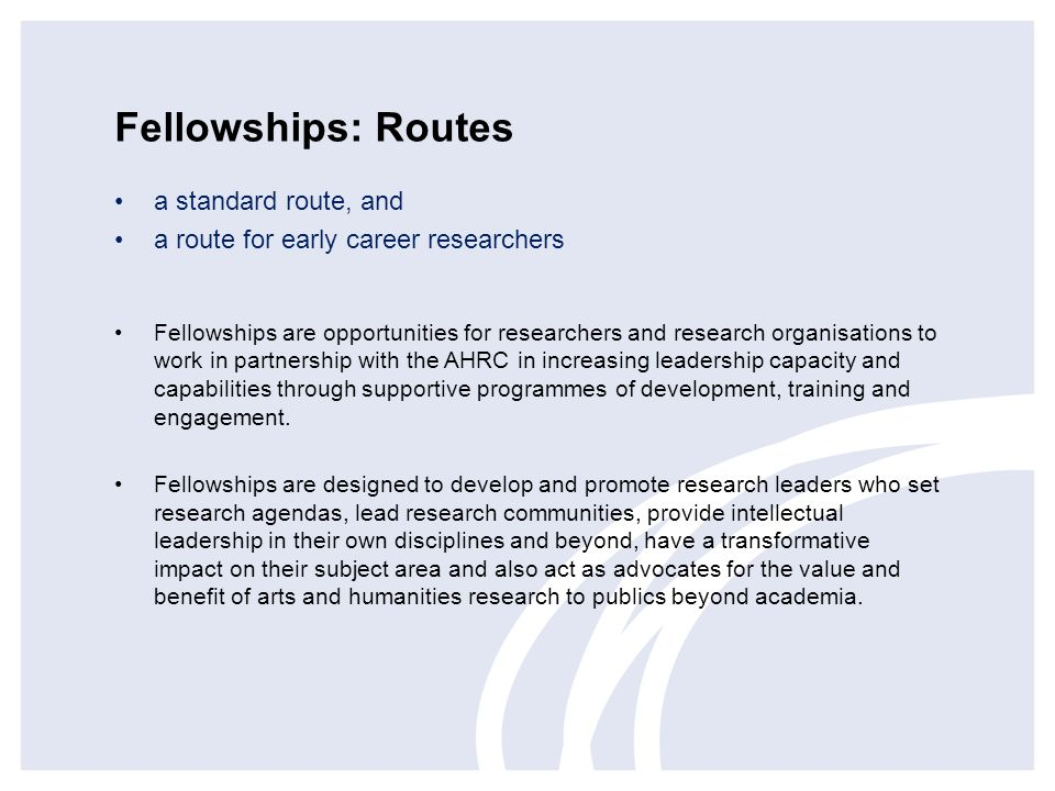 Fellowships: Routes a standard route, and