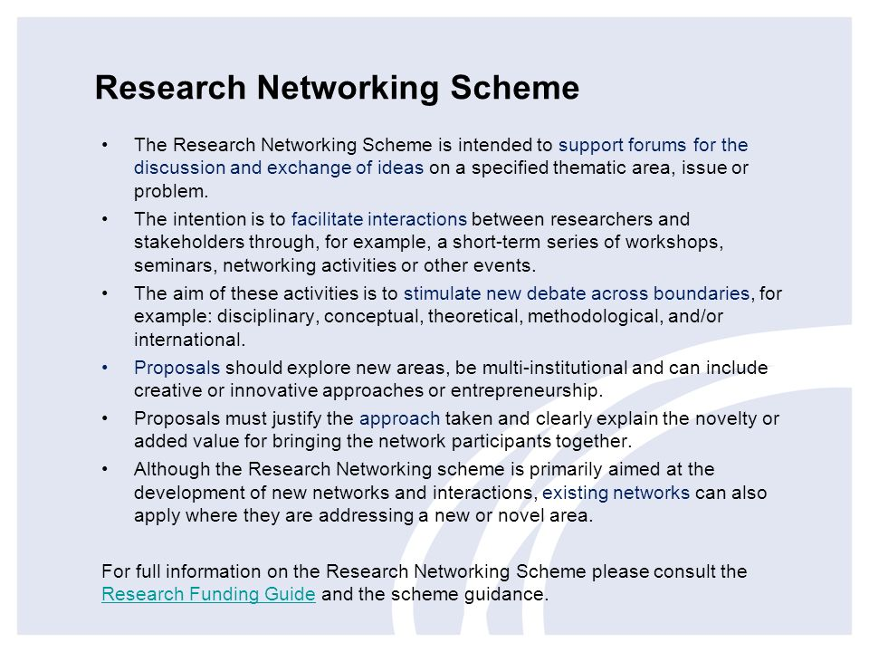 Research Networking Scheme