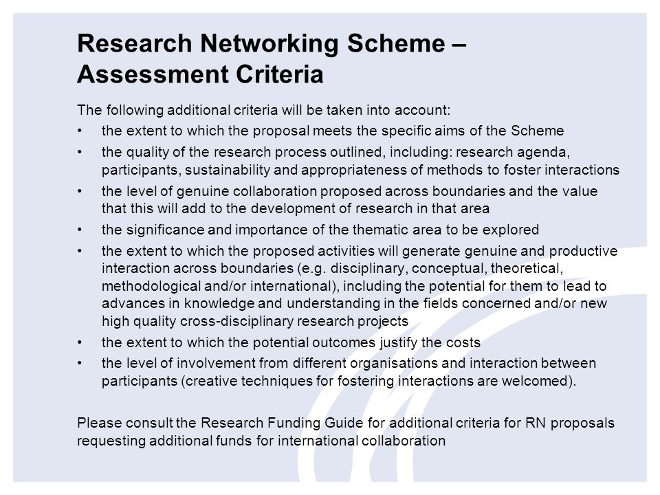 Research Networking Scheme – Assessment Criteria