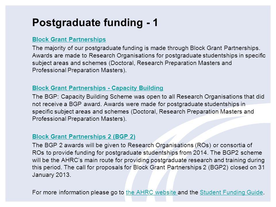 Postgraduate funding - 1