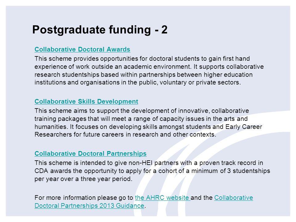 Postgraduate funding - 2