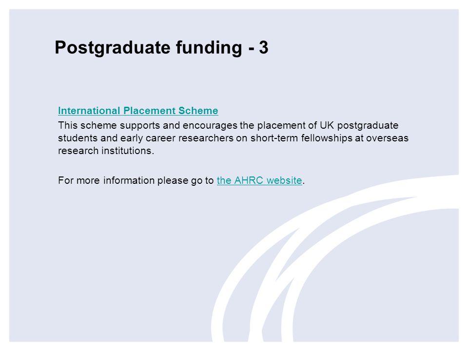 Postgraduate funding - 3