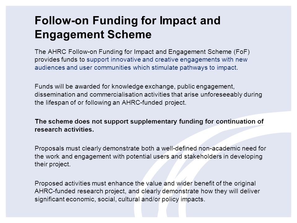 Follow-on Funding for Impact and Engagement Scheme