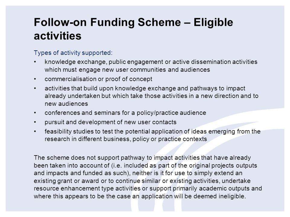 Follow-on Funding Scheme – Eligible activities