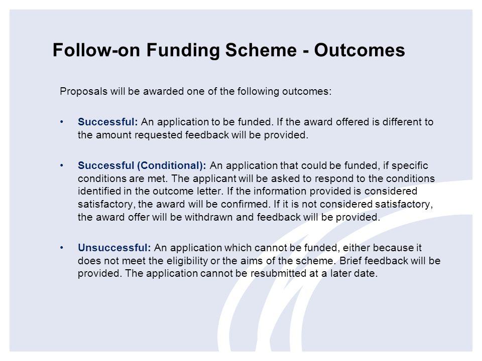 Follow-on Funding Scheme - Outcomes