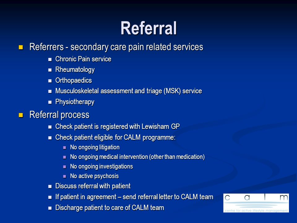 Referral Referrers - secondary care pain related services