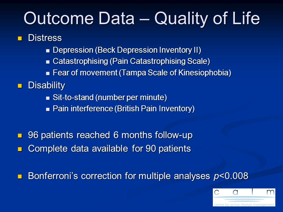 Outcome Data – Quality of Life