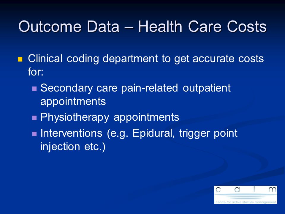 Outcome Data – Health Care Costs