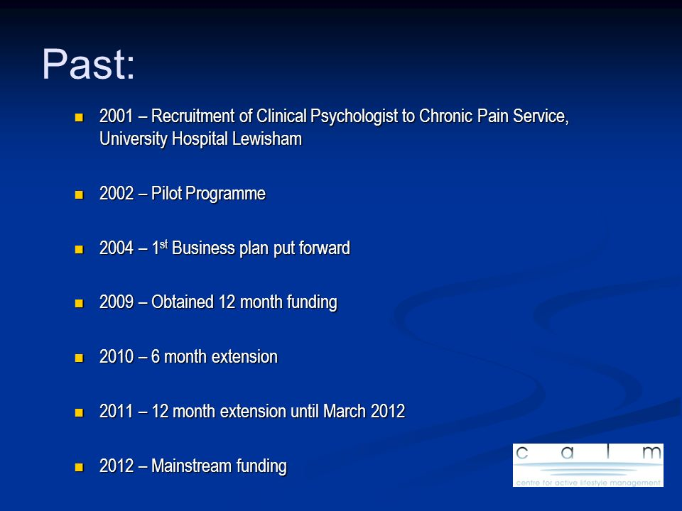 Past: 2001 – Recruitment of Clinical Psychologist to Chronic Pain Service, University Hospital Lewisham.